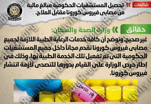 الوزراء يوضح حقيقة حصول المستشفيات الحكومية على أموال من مرضي فيروس كورونا مقابل العلاج